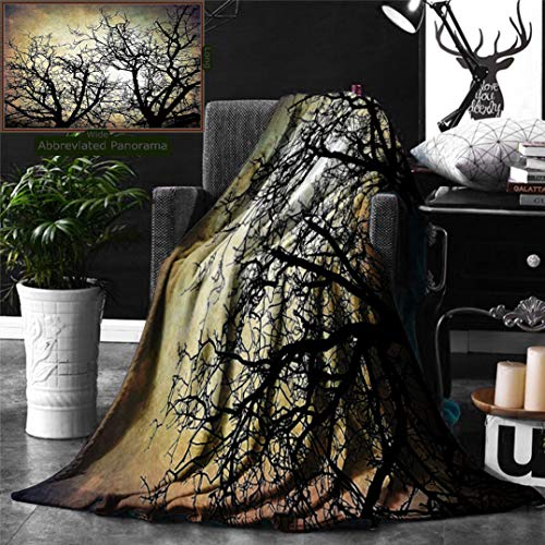 Ralahome Unique Custom Digital Print Flannel Blankets Horror Scary Twilight Scene Grunge Tree Branch Silhouette Over Dirty Night Sk Super Soft Blanketry Bed Couch, Throw Blanket 60 x 40 Inches