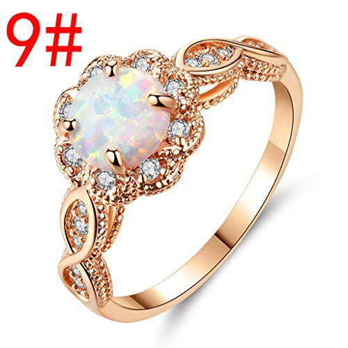 (Haluoo 925 Sterling Silver Oval Cut Created White Opal Ring Rose Gold Rhodium Plated Infinity Style Twisted Prong Cubic Zirconia Engagement Wedding Band Fire Opal Statement Promise Rings (9))