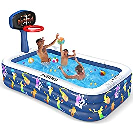 AOKIWO Inflatable Swimming Pool with Basketball Stands, 118″ X 72″ X 20″ Full-Sized Family Inflatable Lounge Pool Kiddie Pool for Kids, Kiddie, Adults, Infant, Garden, Backyard