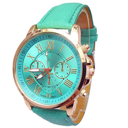 Womens Watch,Stylish Roman Numerals Analog Quartz Bracelet Faux Leather Wristwatch Axchongery (Sky blue