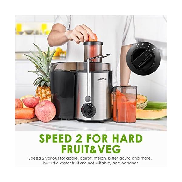 Aicok Centrifuga Frutta e Verdura 3 Velocità Estrattore di Succo a Freddo con 65MM Bocca Larga, Piedi Anti-scivolosi e… 4