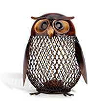Tooarts Money Box Owl Shaped Piggy Bank Metal Coin Bank Box Handwork Crafting for Gifts