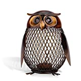 Tooarts Owl Shaped Metal Coin Bank Box Handwork Crafting Art