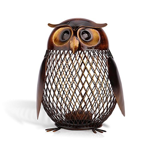Tooarts Owl Shaped Metal Coin Bank Box Handwork Crafting Art Piggy Bank
