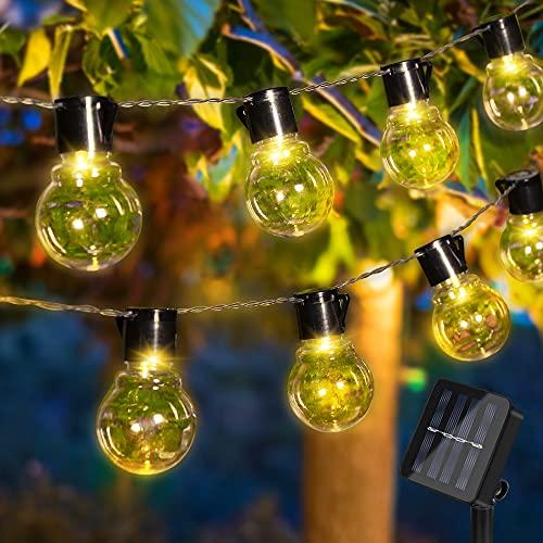 Solar Lichterkette Außen, 10er 3.5M LED Aussen Solar Glühbirnen Lichterkette, 8 Modi IP65 Wasserdicht Solarbetriebene Lichterkette, Warmweiß Garten Lichterkette Beleuchtung für Balkon Garten Hof Party