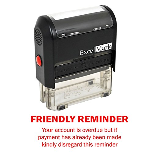 FRIENDLY REMINDER OVERDUE - Self Inking Bill Collection Stamp in Red Ink]()
