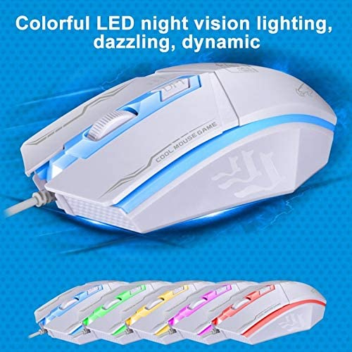 HUFAN 199 USB 1600DPI Three-Speed Adjustable LED Backlight Wired Optical Gaming Mouse Length: 1.3m Black Color : White