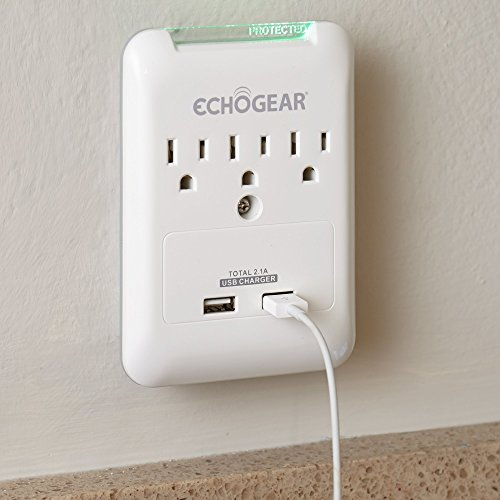 ECHOGEAR Low Profile Surge Protector Design With 3 AC Outlets & 2 USB Ports – 540 Joules of Surge Protection – Installs Over Existing Outlets To Protect Your Gear & Increase Outlet Capacity