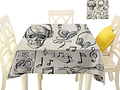 familytaste Table Cloth Music,Sketchy Background Hipster Skull with Headphones Record Player Mic Speakers Print,Beige Black Summer Table Cloths