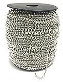 BRUFER 72423 Ball Chain Spool 330 Feet Bulk Roll Antique Silver (Platinum) 2.4mm Ball (3/32'') - #3 Size - 100 Meters Bulk Chain Roll