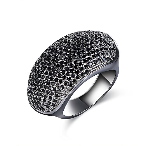 - dnswez Design Black Pave Setting Marcasite Oval Round Ring Retro Style Vintage Ring Light Weight for Women Size: 8
