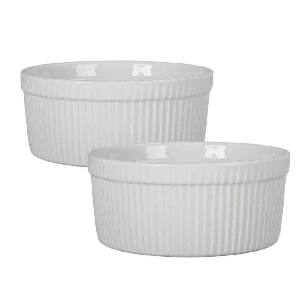 BIA Classic White Porcelain 1.5 Quart Souffle Baking Dish, Set of 2