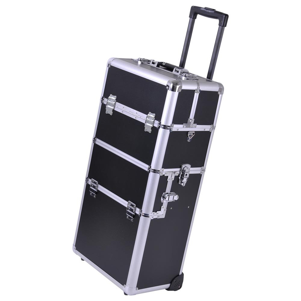 Amazoncom Rolling Makeup Artist Cosmetic Train Case Beauty - Aluminum trolley case pro rolling makeup cosmetic organizer