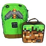JINX Minecraft Pickaxe Adventure Backpack & Dirt Block Lunch Bag Set