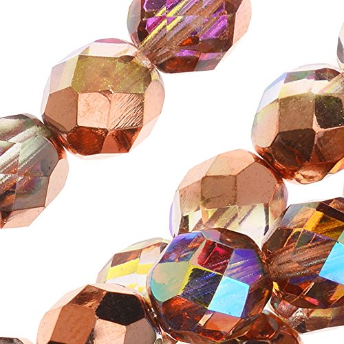 Czech Fire Polished Glass, Faceted Round Beads 8mm, 20 Pieces, Crystal Copper (Buy Glow Necklaces)