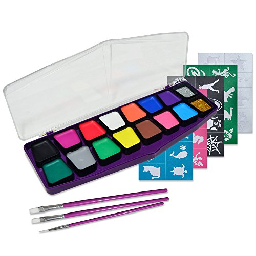 Face Paint Kit: 16 Vibrant Colors, 40 Stencils,