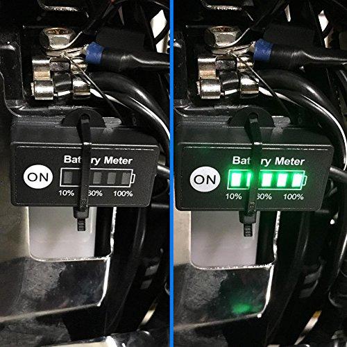 BUNKER INDUST Mini 12V 24V LED Battery Indicator Gauge Meter, Universal Lead-acid Battery Tester for Motorcycle Golf Carts Car Marine ATV by BUNKER INDUST (Image #4)