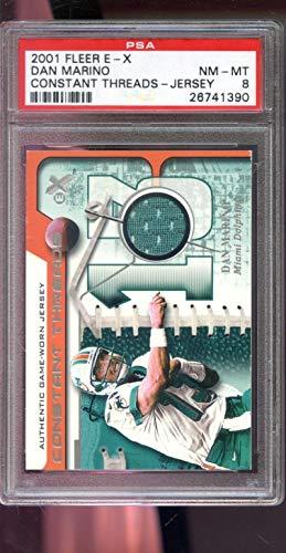 2001 Fleer E-X EX Constant Threads Dan Marino Game-Worn Game-Used Jersey PSA 8 Graded NFL Football Card ()