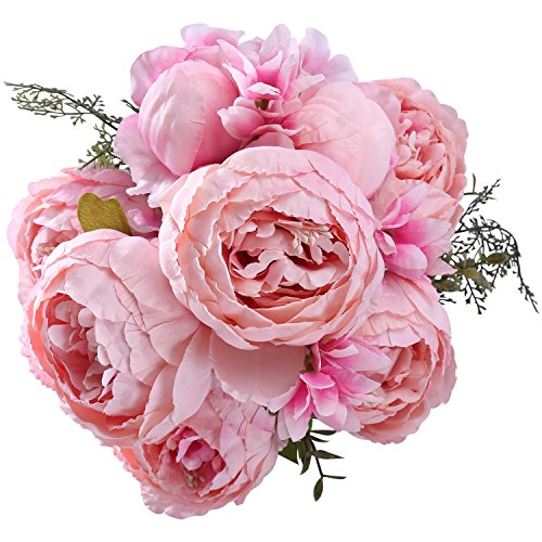 (StarLifey Artificial Silk Peony Bridal Wedding Bouquet Springs Flowers Bunches Wedding Home Decoration(Spring Light Pink))
