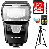 Olympus FL-900R Dust and Splashproof Electronic Flash (V326170BW000) w/ 64GB Bundle Includes, 64GB Memory Card, AA Charger w/ 4 Batteries, Tripod, Cleaning Pen & Flash Diffuser Soft Flash Cover