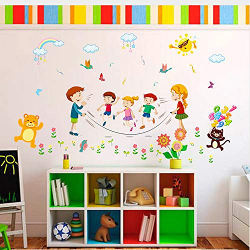 Meaosy Happy Animal Do Sports Wall Stickers for Kids Rooms Bedroom Kitchen Children Room Home Decor Wall Decal Murals Poster