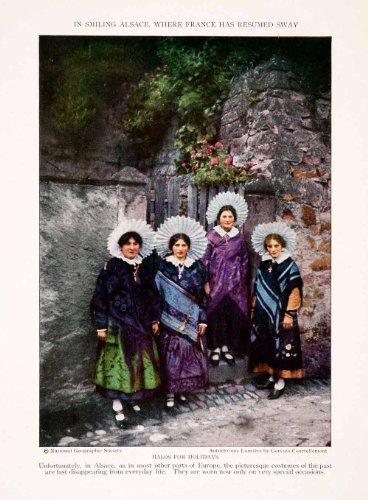 [1927 Color Print Alsace Lorraine France Historic Cultural Costume Halo Headdress - Original Color Print] (Alsace Traditional Costume)