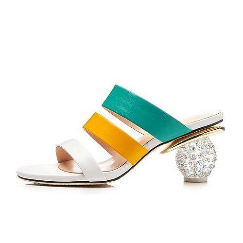 Verano Sandalias Y Zapatillas De Cuero con Estilo Diamantes De Imitación Y Zapatos Arco Iris Moda Zapatos De Mujer: Amazon.es: Zapatos y complementos