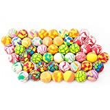 Fun Central AU198 50 pieces, 38mm Assorted Bouncing Balls Bulk For Kids, Rubber Swirl Bouncing Balls, High Bouncing Balls