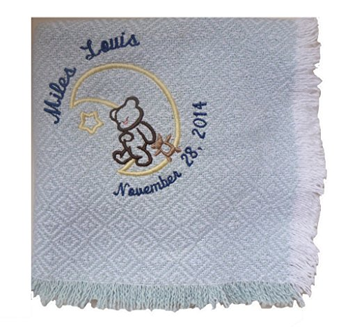 Custom Embroidered and Personalized Handwoven Baby Blanket with Bear Theme and Personalized to Your Specifications