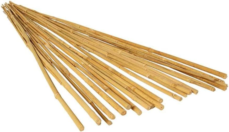 Hydrofarm HGBB4 4' Natural, Pack of 25 Bamboo Stake, 4 foot, Tan : Garden Stakes : Garden & Outdoor