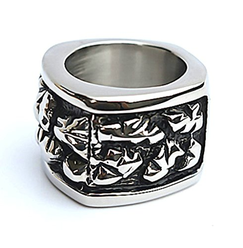 Men's Stainless Steel Finger Rings Gothic Band Skull Punk Style Silver Black 1.7cm Size - To Determine How Size Eye
