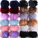 SIQUK 24 Pieces Faux Fox Fur Pom Pom Balls DIY Faux Fox Fur Fluffy Pom Pom with Elastic Loop for Hats Keychains Scarves Gloves Bags Accessories(12 Bright Colors, 2 Pcs Each Color): more info
