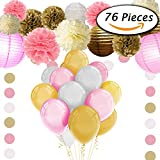 Paxcoo 76 Pcs Pink and Gold Tissue Paper Flowers Pom Poms Lanterns and Latex Party Balloons for Baby Shower Party Decoration