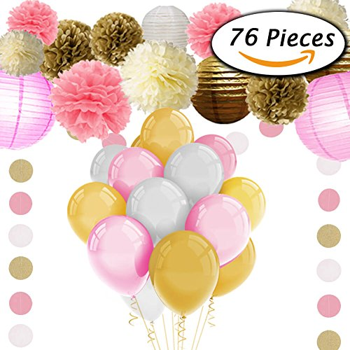 Paxcoo 76 Pcs Pink and Gold Tissue Paper Flowers Pom Poms Lanterns and Latex Party Balloons for Baby Shower Party Decoration (Baby Shower Balloon Decorations)