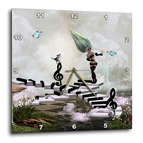 3dRose Heike Köhnen Desing Music - Little Fairy Dancing on a Piano - 13x13 Wall Clock (DPP_310273_2)