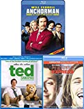 Bear Party Ron Burgundy Anchorman Blu Ray & Pineapple Express & Ted Comedy Collection Movie Set
