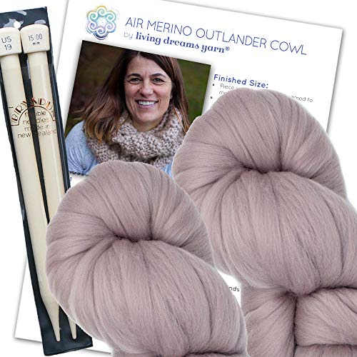 Air Merino Outlander Cowl KNIT KIT includes super soft thick Air Merino yarn, big needles and written pattern. Color: MINK