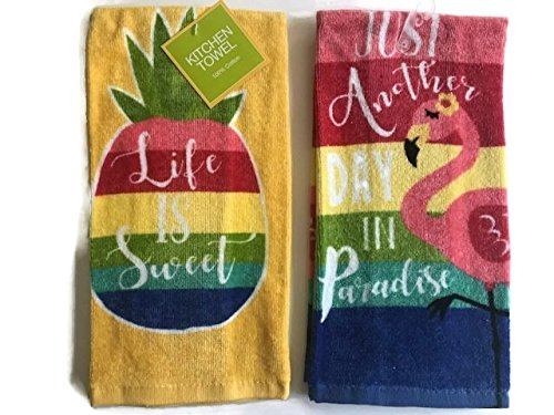 Ritz Life is Sweet Pineapple & Just Another Day in Paradise Stripe Flamingo Kitchen Dish Towel 2 pack (Sweet Paradise Pineapple)