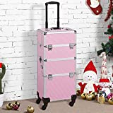 Yaheetech 3 in 1 Aluminum Rolling Makeup Case Extra