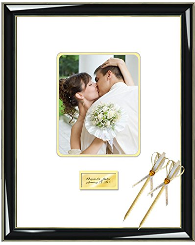 Personalized Signature Mat - Personalized Engrave Signature Photo Guest Book Frame Round Corner 8x10 Portrait 16 x 20 Glossy Majestic Black Gold Accents Wedding Anniversary Signature Photo Mat Inner Matted Gold