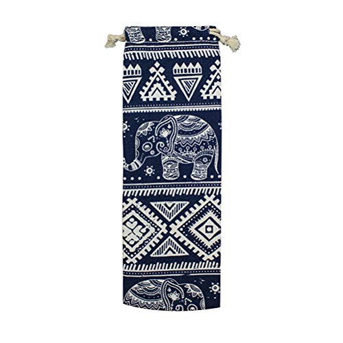 nless Steel Straws Storage Bag Geometric and Elephant Shape Printed Reusable Drawstring Straw Carrying Pouch (10x30cm) ()