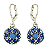 Silver-Plated Dazzling Austrian Crystal Florette Victorian Style Leverback Dangle Earrings (Blue)