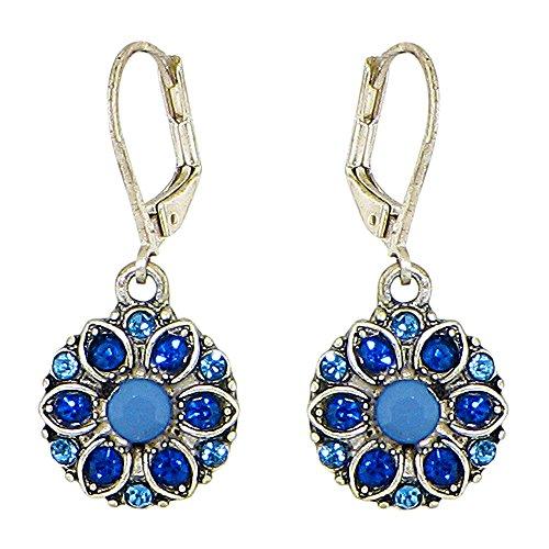 Silver-Plated Dazzling Austrian Crystal Florette Victorian Style Leverback Dangle Earrings (Blue) (Blue Victorian Crystal)