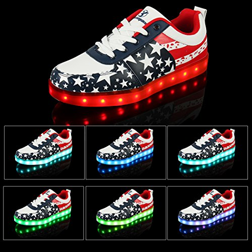 Shinmax LED Shoes LED Sneakers-USA Flag Unisex Light Up Shoes Flashing  Sneakers, Men 70e53c7f9e67