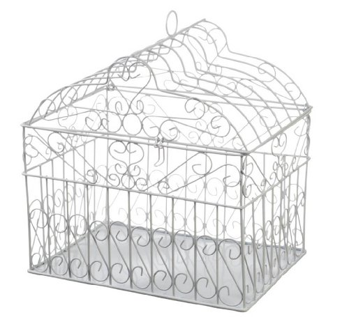Holder Card Bridal (Darice VL1017 Metal Bridal Birdcage Card Holder, White)