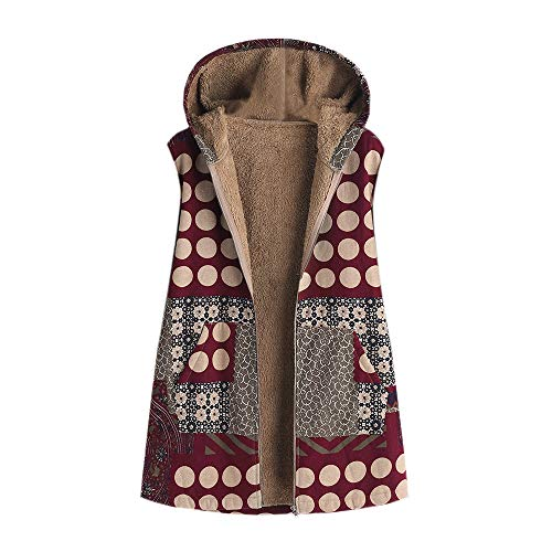 Womens Winter Vest Coats Warm Outwear Floral Print Hooded Pockets Vintage Oversize Coats S-5XL