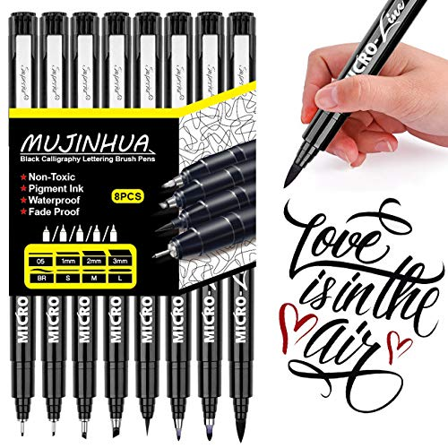 (Hand Lettering Pens, Black Calligraphy Brush Pen, Markers Set for Art Sketching, Bullet Journaling, Beginners Writing Guide, Signature, Technical Drawing, Water Color Illustrations(8 Size))