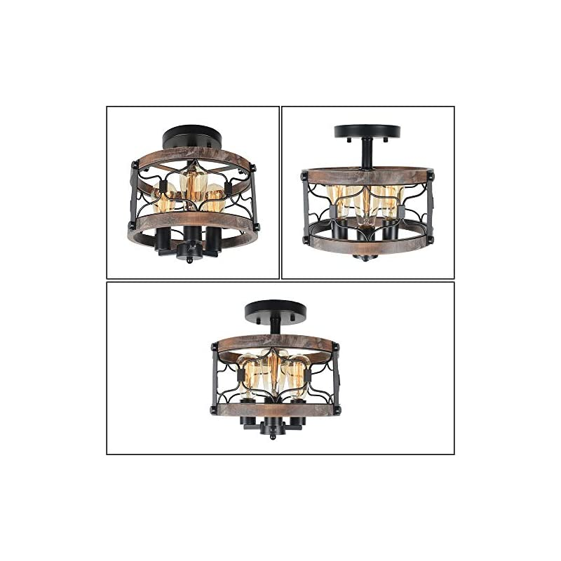 Beuhouz Round Farmhouse Rustic Ceiling Light, Metal and Wood Semi Flush Mount Light Industrial Black Wire Cage Light…
