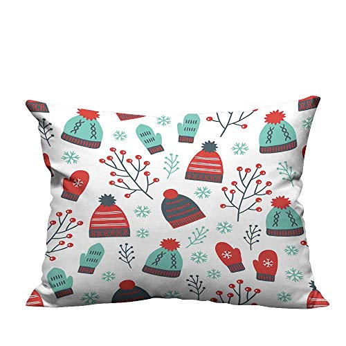 YouXianHome Home Decor Pillowcase Christmas Seamless Pattern with Mittens,Hats,Branches and Snowflakes Durable Polyester Fabric(Double-Sided Printing) 13.5x19 inch