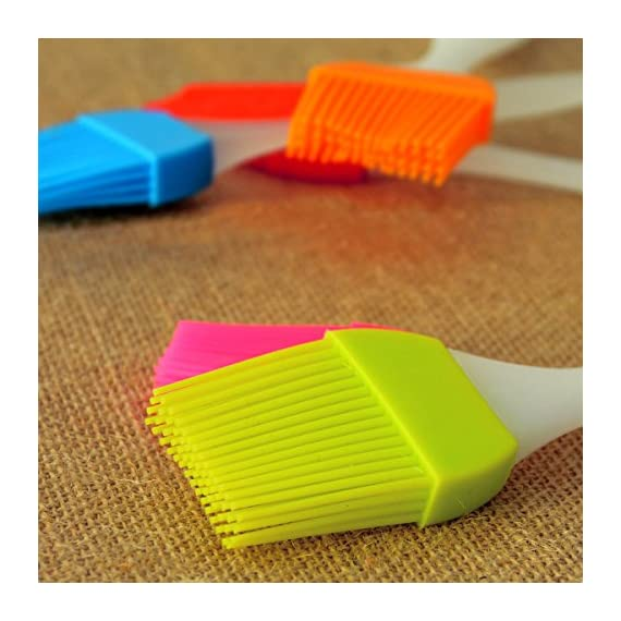 kingleder Assorted Color Silicone Basting Brush for Desserts Baking Barbecue Pastry BBQ(Set of 6) 5 Made of FDA Flexible Silicone with a steel core inside and BPA free, 100% food-grade silicone Comes in 6 Assorted colors Baking brushes, Blue/Green/Orange/Pink/Red/Yellow Easy to clean, silicone design, easy to wash with hands, flush with soapy warm water to get the oily stuff down, and then hang it to air dry